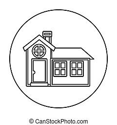 monochrome contour circle of house with chimney