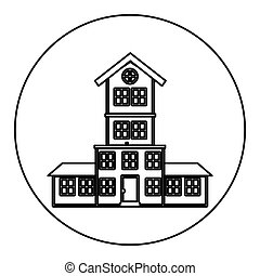 monochrome contour circle of house with four floors vector...