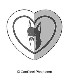 grayscale silhouette middle shadow sticker with doberman...