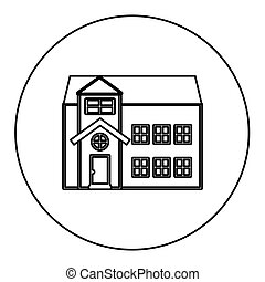 monochrome contour circle of house with two floors vector...
