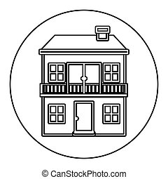 monochrome contour circle of house with two floors and...