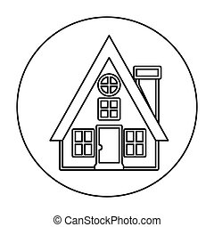 monochrome contour circle of house with chimney vector...