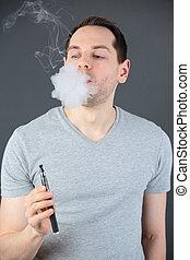 Cigarrillo, polémico,  vaping, Fumar, electrónico, hombre