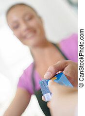Customer paying by card