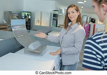 Maszyna, nowy, myć, Przedstawiając, sprzedawca