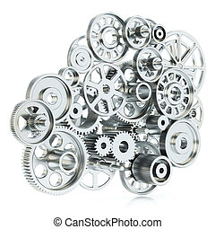 Gears mechanism. Concept isolated on white background 3d