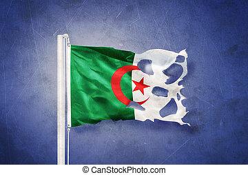 Torn flag of Algeria flying against grunge background.