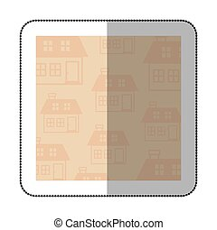 color middle shadow sticker with square with pattern of...
