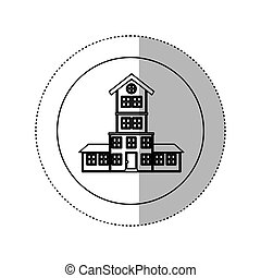 monochrome contour with middle shadow sticker in circle of...