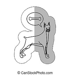 monochrome contour middle shadow sticker with doberman...