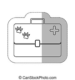 monochrome contour with middle shadow sticker with vet first aid suitcase