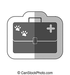 grayscale silhouette with middle shadow sticker with vet first aid suitcase
