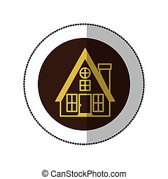 color image middle shadow sticker in circle with house with...