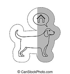 monochrome contour middle shadow sticker with golden...