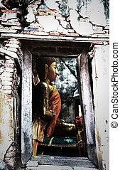 Unseen Thailand,Ruins of old temple with a Bodhi tree...