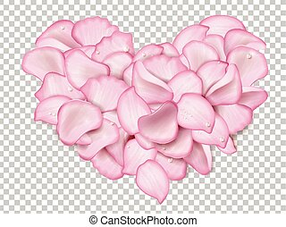rose petals heart - Pink rose petals in heart shape with...