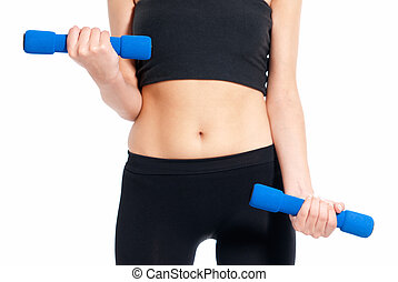 Unrecognizable young woman fitness exercise with dumbbells isolated on white background