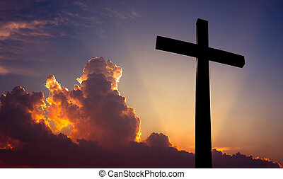 Christian cross over beautiful sunset background -...