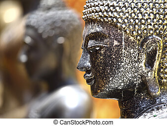 bhudda detail - closeup on thai bhudda head, selective focus