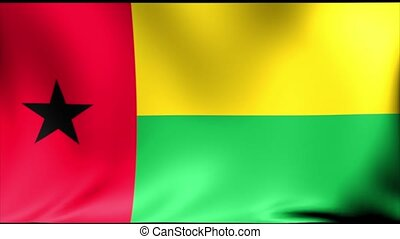 Guinea-Bissau Flag. Background Seamless Looping Animation....