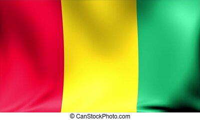 Guinea Flag. Background Seamless Looping Animation.