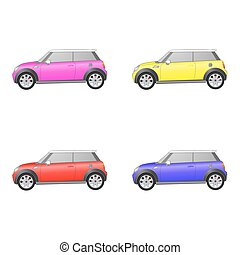 Set of isolated cars on white background - Set of isolated...