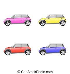 Set of isolated cars on white background - Set of isolated...