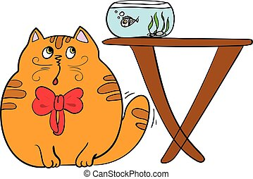 vector illustration of a cute kitten tries to catch fish - A...