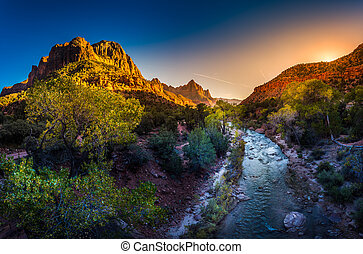 Zion National Park Virgin River and The Watchman at Sunset -...