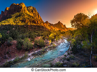 Zion National Park Virgin River at Sunset - Zion National...