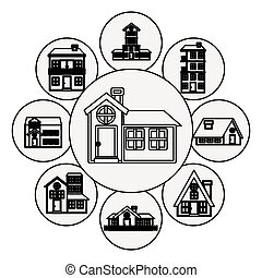 silhouette pattern with houses logo design in bubbles