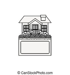 silhouette small house design with label vector illustration