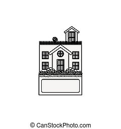 silhouette house with terrace and label vector illustration