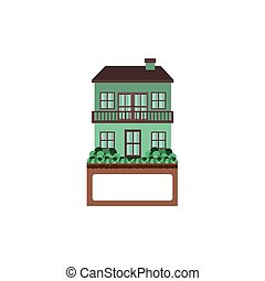 house with two floors and balcony vector illustration