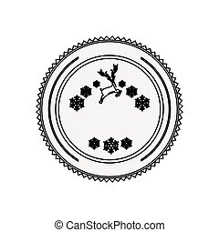 silhouette circular border with snowflake christmas ande reindeer