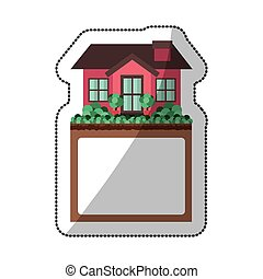 sticker of small house design with label