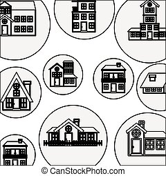 silhouette pattern with houses logo design