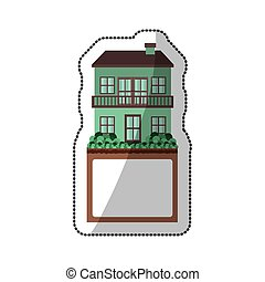 sticker of house with two floors and balcony