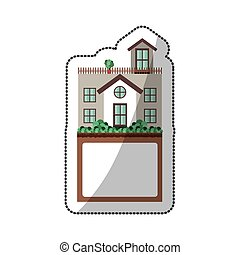 sticker of house with terrace and label vector illustration