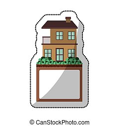 sticker of apartment with two floors design and label vector...