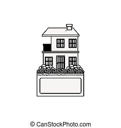 silhouette apartment with two floors design vector...