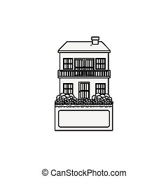 silhouette house with two floors and balcony vector...