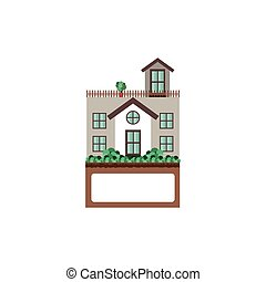 house with terrace and label vector illustration