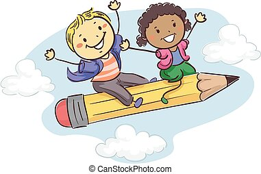 Stick kids sitting on a Flying Pencil