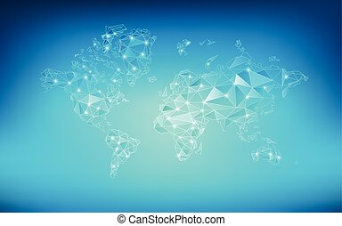 worldMap - World map in wireframe style; polygon elements...