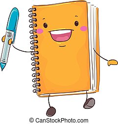 Notebook Mascot Holding a Pen - Vector Illustration of...