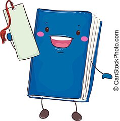 Book Mascot Holding Bookmark - Vector Illustration of Book...