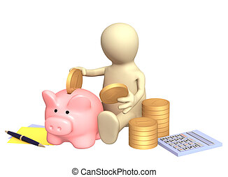 Puppet, piggy bank and calculator. Isolated over white