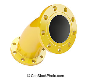 Yellow flanged tube for connection industrial equipment.