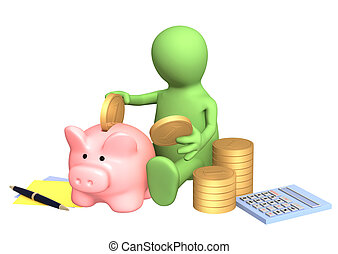 Puppet, piggy bank and calculator